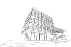 Αφηρημένη, τρισδιάστατη απεικόνιση αρχιτεκτονικής, εμπορικό σχέδιο οικοδόμησης δομών κτηρίου Στοκ εικόνα με δικαίωμα ελεύθερης χρήσης