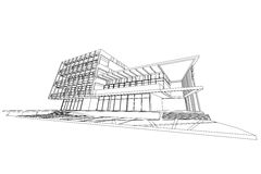 Αφηρημένη, τρισδιάστατη απεικόνιση αρχιτεκτονικής, εμπορικό σχέδιο οικοδόμησης δομών κτηρίου Στοκ φωτογραφίες με δικαίωμα ελεύθερης χρήσης