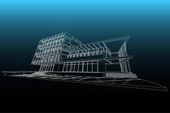 Αφηρημένη, τρισδιάστατη απεικόνιση αρχιτεκτονικής, εμπορικό σχέδιο οικοδόμησης δομών κτηρίου Στοκ Φωτογραφίες