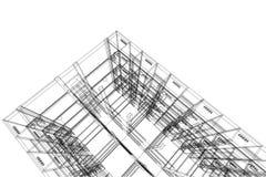 Αφηρημένη, τρισδιάστατη απεικόνιση αρχιτεκτονικής, εμπορικό σχέδιο οικοδόμησης δομών κτηρίου Στοκ Εικόνα