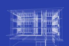 Αφηρημένη, τρισδιάστατη απεικόνιση αρχιτεκτονικής, δομή κτηρίου, Στοκ Εικόνες