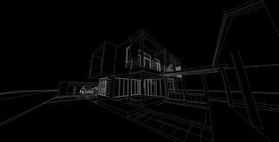 Αφηρημένη, τρισδιάστατη απεικόνιση αρχιτεκτονικής, σχέδιο αρχιτεκτονικής Στοκ Εικόνα