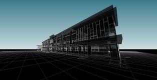 Αφηρημένη, τρισδιάστατη απεικόνιση αρχιτεκτονικής, σχέδιο αρχιτεκτονικής Στοκ Εικόνες