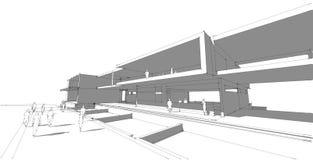 Αφηρημένη, τρισδιάστατη απεικόνιση αρχιτεκτονικής, σχέδιο αρχιτεκτονικής Στοκ εικόνες με δικαίωμα ελεύθερης χρήσης