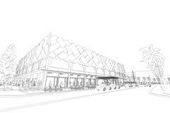 Αφηρημένη, τρισδιάστατη απεικόνιση αρχιτεκτονικής, σχέδιο αρχιτεκτονικής Στοκ φωτογραφία με δικαίωμα ελεύθερης χρήσης