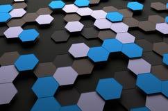 Αφηρημένη τρισδιάστατη απόδοση της επιφάνειας με Hexagons Στοκ Φωτογραφίες
