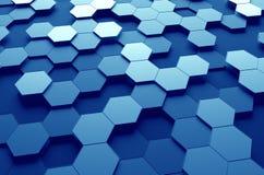 Αφηρημένη τρισδιάστατη απόδοση της επιφάνειας με Hexagons Στοκ Φωτογραφία