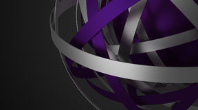 Αφηρημένη τρισδιάστατη απόδοση της σφαίρας με τα δαχτυλίδια Στοκ Εικόνες