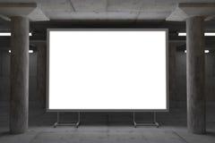Αφηρημένη τρισδιάστατη απόδοση του καμμένος πίνακα διαφημίσεων στο βιομηχανικό διάστημα Στοκ φωτογραφία με δικαίωμα ελεύθερης χρήσης