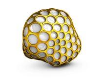 Αφηρημένη τρισδιάστατη σφαίρα wireframe απεικόνισης χρυσή Απομονωμένο λευκό Στοκ Εικόνες