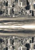 Αφηρημένη υπερφυσική άνω πλευρά - κάτω από την άποψη του ορίζοντα πόλεων Sci Fi concep Στοκ Εικόνα