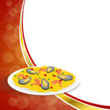 Αφηρημένη υποβάθρου τροφίμων paella ρυζιού μπιζελιών πιπεριών γαρίδων απεικόνιση πλαισίων μυδιών πράσινη κόκκινη χρυσή Στοκ Εικόνες
