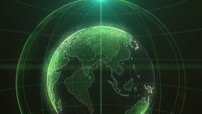 Αφηρημένη φουτουριστική περιστρεφόμενη παγκόσμια σφαίρα στα μόρια ή τα μικρά σημεία Σύγχρονο υπόβαθρο τεχνολογίας για τη ραδιοφων ελεύθερη απεικόνιση δικαιώματος