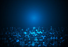 Αφηρημένη φουτουριστική τεχνολογία, μπλε υπόβαθρο χρώματος πινάκων κυκλωμάτων Στοκ Εικόνα