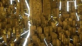 Αφηρημένη φουτουριστική χρυσή πόλη διανυσματική απεικόνιση