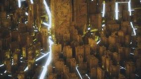 Αφηρημένη φουτουριστική χρυσή πόλη απεικόνιση αποθεμάτων