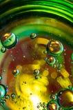 Αφηρημένη φωτογραφία που χρησιμοποιεί το μίγμα ελαίου και νερού Κλείστε επάνω την αφηρημένη φωτογραφία Στοκ Εικόνα
