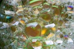 Αφηρημένη φωτογραφία που χρησιμοποιεί το μίγμα σαπουνιού και νερού Παραγωγή των φυσαλίδων Κλείστε επάνω την αφηρημένη φωτογραφία Στοκ Εικόνες