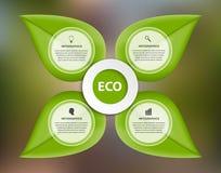 Αφηρημένη φύση infographic Πράσινα φύλλα σε ένα ζωηρόχρωμο υπόβαθρο Στοκ φωτογραφίες με δικαίωμα ελεύθερης χρήσης