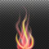 Αφηρημένη φλόγα με τα μόρια στο διαφανές υπόβαθρο Στοκ Εικόνες