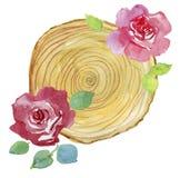 Αφηρημένη χρωματισμένη χέρι κάρτα watercolor με τα φύλλα και τα λουλούδια Στοκ Φωτογραφίες