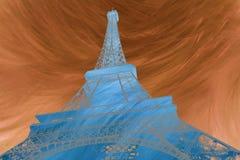 Αφηρημένη ψηφιακή τέχνη της αφηρημένης ψηφιακής τέχνης του Άιφελ του πύργου του Άιφελ στο Παρίσι σκιαγραφία Κάρτα, υψηλή ανάλυση διανυσματική απεικόνιση