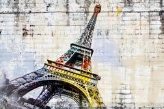 Αφηρημένη ψηφιακή τέχνη του πύργου του Άιφελ στο Παρίσι ζωηρόχρωμος καλυμμένος τοίχος οδών γκράφιτι τέχνης Στοκ Εικόνες