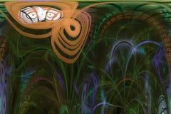 Αφηρημένη ψηφιακή fractal υπερφυσική φαντασία διακοσμήσεων έκρηξης μαγική, δυναμικός, σχέδιο επικαλύψεων φουτουριστικό απεικόνιση αποθεμάτων