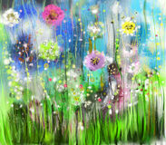 Αφηρημένη floral ζωγραφική watercolor απεικόνιση αποθεμάτων