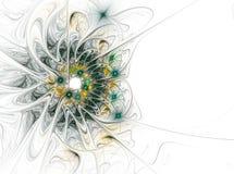 Αφηρημένη fractal παραγμένη υπολογιστής εικόνα λουλουδιών Πράσινο κίτρινο λουλούδι στο άσπρο υπόβαθρο Διανυσματική απεικόνιση