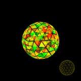 Αφηρημένη polygonal σπασμένη σφαίρα τρισδιάστατη διανυσματική ζωηρόχρωμη απεικόνιση Στοκ Εικόνες