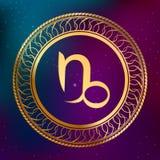 Αφηρημένη zodiac ωροσκοπίων έννοιας αστρολογίας υποβάθρου χρυσή απεικόνιση πλαισίων κύκλων Αιγοκέρου σημαδιών Στοκ Εικόνες