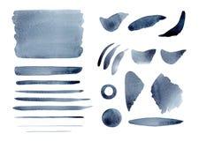 Αφηρημένοι γκρίζοι παφλασμοί, υπόβαθρο, cirkle, κτυπήματα και γραμμές λουλακιού Watercolor καθορισμένοι Στοκ εικόνες με δικαίωμα ελεύθερης χρήσης