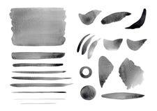 Αφηρημένοι γκρίζοι παφλασμοί Watercolor, υπόβαθρο, cirkle, κτυπήματα, γραμμές καθορισμένες Στοκ Φωτογραφία