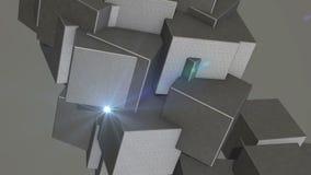 Αφηρημένοι κύβοι στην περιστροφή φιλμ μικρού μήκους