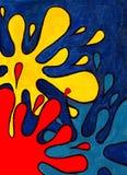 Αφηρημένοι πολύχρωμοι λεκέδες σε ένα μπλε υπόβαθρο Στοκ εικόνες με δικαίωμα ελεύθερης χρήσης