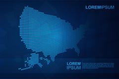 Αφηρημένος ΑΜΕΡΙΚΑΝΙΚΟΣ χάρτης με το μπλε Polygonal διαστημικό υπόβαθρο με τις συνδέοντας γραμμές Στοκ φωτογραφίες με δικαίωμα ελεύθερης χρήσης