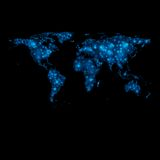 Αφηρημένος λαμπρός διανυσματικός παγκόσμιος χάρτης φω'των διανυσματική απεικόνιση