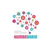 Αφηρημένος ανθρώπινος εγκέφαλος - απεικόνιση έννοιας προτύπων επιχειρησιακών διανυσματική λογότυπων Δημιουργικό ζωηρόχρωμο σημάδι