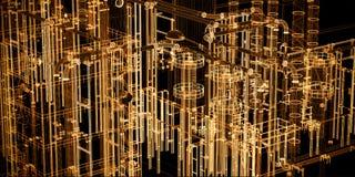 Αφηρημένος βιομηχανικός, υπόβαθρο εμβλημάτων τεχνολογίας Εφαρμοσμένη μηχανική, εργοστάσιο διανυσματική απεικόνιση