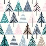 Αφηρημένος γεωμετρικός άνευ ραφής επαναλαμβάνει το σχέδιο με τα χριστουγεννιάτικα δέντρα διανυσματική απεικόνιση