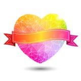 Αφηρημένος γεωμετρικός ζωηρόχρωμος διαμορφωμένος καρδιά βαλεντίνος ελεύθερη απεικόνιση δικαιώματος