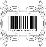 Αφηρημένος γραμμωτός κώδικας με το floral πλαίσιο Στοκ Φωτογραφίες
