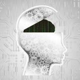 Αφηρημένος εγκέφαλος κώδικα μητρών, έννοια τεχνητής νοημοσύνης AI Στοκ Εικόνες