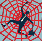 Αφηρημένος επιχειρηματίας που πιάνεται σε έναν Ιστό αραχνών. διανυσματική απεικόνιση