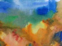 Αφηρημένος ζωηρόχρωμος κατασκευασμένος υποβάθρου τέχνης Watercolor Στοκ Φωτογραφίες