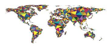 Αφηρημένος ζωηρόχρωμος polygonal παγκόσμιος χάρτης γεωμετρικού σχεδίου Στοκ φωτογραφίες με δικαίωμα ελεύθερης χρήσης