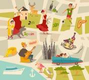 Αφηρημένος διανυσματικός χάρτης της Ισπανίας Διευκρινισμένος χάρτης της Ισπανίας για τα παιδιά/παιδί Στοκ εικόνες με δικαίωμα ελεύθερης χρήσης