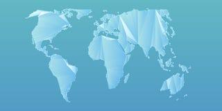 Αφηρημένος διανυσματικός polygonal παγκόσμιος χάρτης πλέγματος Triangulated ήπειροι Ψηφιακή αφαίρεση χαρτών στα ανοικτό μπλε χρώμ διανυσματική απεικόνιση