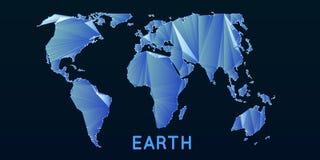 Αφηρημένος διανυσματικός polygonal παγκόσμιος χάρτης πλέγματος Triangulated ήπειροι Ψηφιακή αφαίρεση χαρτών στα σκούρο μπλε χρώμα διανυσματική απεικόνιση
